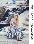 a beautiful little girl in a...   Shutterstock . vector #796436569