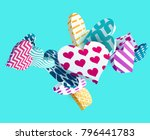 3d colorful hearts. abstract... | Shutterstock .eps vector #796441783