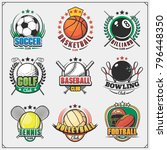 vector set of emblems with... | Shutterstock .eps vector #796448350