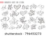 big set hand written lettering... | Shutterstock .eps vector #796453273
