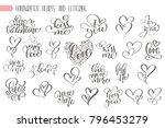 big set hand written lettering... | Shutterstock .eps vector #796453279