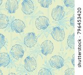 seamless pattern with hand... | Shutterstock . vector #796453420