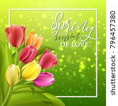Spring Card With Tulip Flowers...