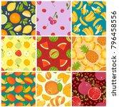 fruit pattern seamless vector... | Shutterstock .eps vector #796458556