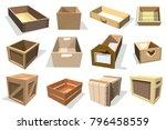 box package vector wooden empty ... | Shutterstock .eps vector #796458559