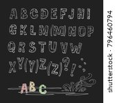 hand drawn brush ink vector abc ... | Shutterstock .eps vector #796460794