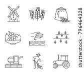 agriculture linear icons set.... | Shutterstock . vector #796464328
