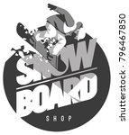 freeride snowboarder in motion. ... | Shutterstock .eps vector #796467850
