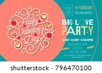 valentine day party invitation... | Shutterstock .eps vector #796470100
