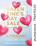 valentine day sale web banner... | Shutterstock .eps vector #796470133