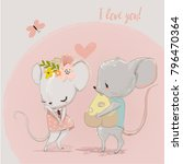 cute mouse couple | Shutterstock .eps vector #796470364