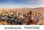 a woman travels through... | Shutterstock . vector #796473283