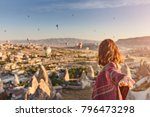 a woman travels through... | Shutterstock . vector #796473298