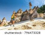 young happy woman traveler... | Shutterstock . vector #796473328