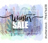 poster winter sales on a floral ... | Shutterstock .eps vector #796476658