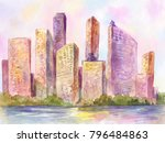 watercolor metropolis  city at... | Shutterstock . vector #796484863
