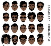 set of faces of black men with... | Shutterstock .eps vector #796484989