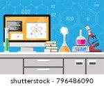 laboratory equipment  jars ... | Shutterstock .eps vector #796486090