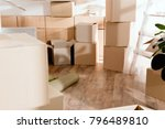 rolled carpet and cardboard... | Shutterstock . vector #796489810