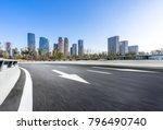 empty road wity modern building ...   Shutterstock . vector #796490740