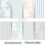 damask pattern set vector.... | Shutterstock .eps vector #796491580
