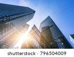 up view modern building in... | Shutterstock . vector #796504009