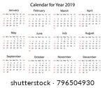 calendar for 2019 on white... | Shutterstock .eps vector #796504930