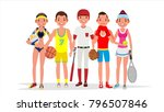 summer sports. set of players... | Shutterstock . vector #796507846