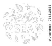 hello sea lettering  adult... | Shutterstock .eps vector #796510858