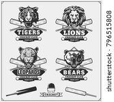 set of cricket club emblems ... | Shutterstock .eps vector #796515808