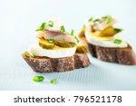 sandwich with herring fillets ... | Shutterstock . vector #796521178