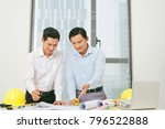 architects engineer discussing... | Shutterstock . vector #796522888