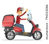 delivery man ride scooter...   Shutterstock .eps vector #796523086