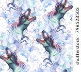 watercolor dinocorns. pastel... | Shutterstock . vector #796523503