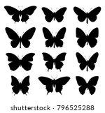 butterflies set. vector... | Shutterstock .eps vector #796525288