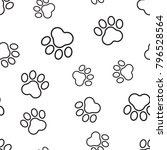 animal paw print seamless... | Shutterstock .eps vector #796528564