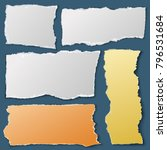 white torn paper pieces. ripped ... | Shutterstock .eps vector #796531684