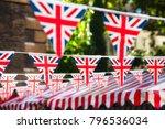 union jack flag triangular... | Shutterstock . vector #796536034