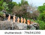 statues of monks on a rock in... | Shutterstock . vector #796541350
