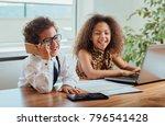 cute boy and a girl working... | Shutterstock . vector #796541428