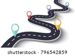 winding road on a white... | Shutterstock . vector #796542859