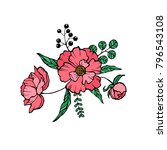vector peony coloring book page ... | Shutterstock .eps vector #796543108