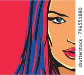 pop art comic woman | Shutterstock .eps vector #796551880