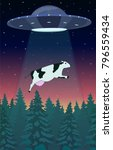 ufo abducts a cow. freehand... | Shutterstock .eps vector #796559434