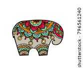 indian elephant in traditional... | Shutterstock .eps vector #796561240