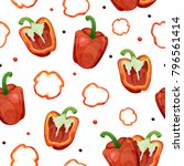 seamless pattern with red... | Shutterstock . vector #796561414