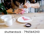 workshop production of ceramic... | Shutterstock . vector #796564243