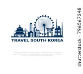 travel to south korea poster... | Shutterstock .eps vector #796567348