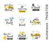 travel quotes icon set hand... | Shutterstock .eps vector #796567558
