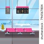 airport waiting hall departure... | Shutterstock .eps vector #796567804
